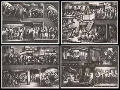 Benton Spruance, 'The People Work.  [Set of Four] Morning - Noon - Evening - Night.', 1937