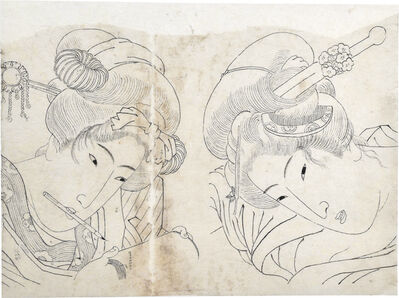 Keisai Eisen, 'Preparatory Drawing of Double Portrait of Two Beauties', ca. 1930