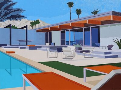 """Andy Burgess, '""""Palm Springs House with Orange Loungers""""', 2018"""