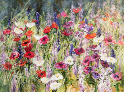 Dianne Ogg, 'Country Garden, Larkspurs & Poppies', 2021