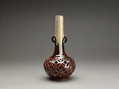Miraku Kamei XV, 'Flower vase (hanaire), shippo design openwork'