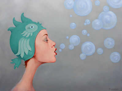 Fred Calleri, '''Floating Gently'' oil painting of a woman in a teal fish cap on gray background blowing bubbles', 2019