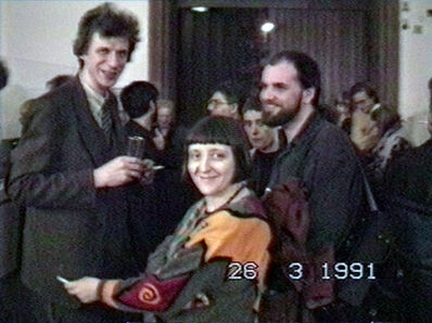 Vadim Zakharov, 'Nikolai Panitkov, Elena Elagina, and Andrei Filippov at the opening of MANI Museum. 40 Moskauer Kuenstler at the Carmelite Monastery in Frankfurt, March 26, 1991', 1991