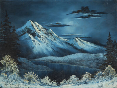 Bob Ross, 'Bob Ross Signed Original Winter Mountain Lake Contemporary Art Painting', 1980-2010