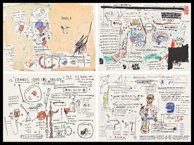 Jean-Michel Basquiat, 'Wolf Sausage, King Brand, Dog Leg Study, and Undiscovered Genius', 1982-2019