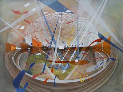 Sherry Tseng Hill, 'Dome Delight - Astrodome, geometric, spatial, architectural, soft colors, casein', 2018