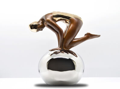 Carole A. Feuerman, 'Miniature Quan Bronze Figure on Polished Stainless Steel Sphere', 2019
