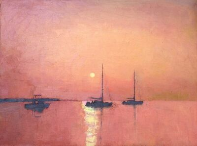 "Larry Horowitz, '""Red Sunset"" orange-red sky reflecting on water with sailboats', 2010-2017"