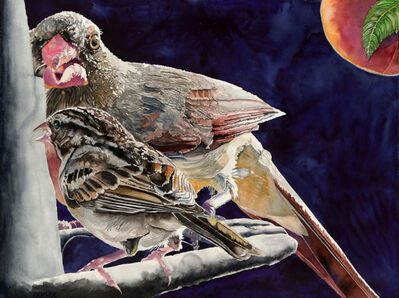 Carol Dawson, 'Female Cardinal and House Sparrow', 2016