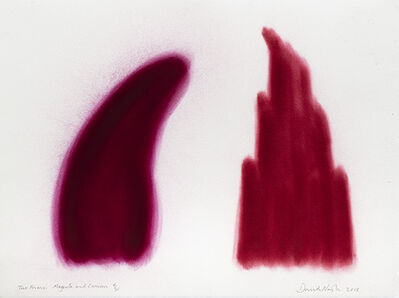 David Nash, 'Two Forms, Magenta and Crimson', 2018