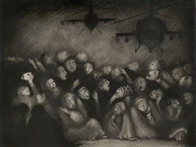 Ana Maria Pacheco, 'Lux Aeterna I (Eternal Light / Refugees cower beneath the godlight lights of a helicopter)', 1995