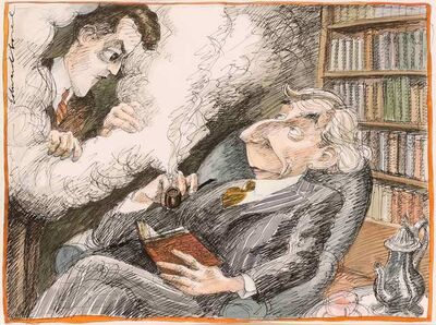 Edward Sorel, 'Bertrand Russell and Ludwig Wittgenstein'