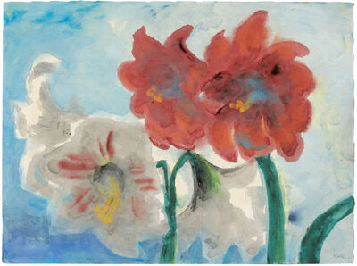 Emil Nolde, 'White and Red Amaryllis', After 1950