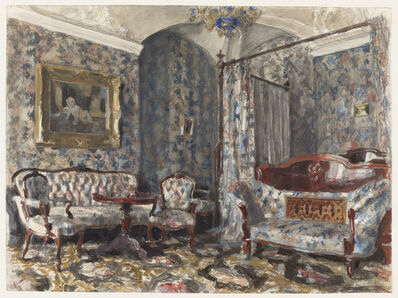 Alexander Benois, 'The Bedroom of Czarina Maria Alexandrovna, Gatchina Palace, St. Petersburg', 1920s