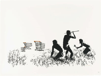Banksy, 'Trolleys (Black and White) - Signed', 2007