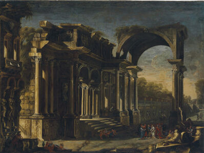 Francesco Maglioli, 'A capriccio with Roman ruins and Christ with the Woman Taken in Adultery'