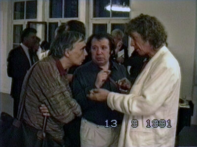 Vadim Zakharov, 'Andrei Monastyrsky, Viktor Pivovarov, and Ivan Chuikov at the opening of Viktor Pivovarov's solo exhibition at Krings-Ernst Galerie in Cologne, September 13, 1991', 1991