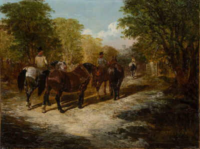 John Frederick Herring Jr., 'Country Gentlemen Going Out', 1849