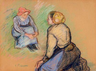Camille Pissarro, 'Paysannes Assises', ca. 1880