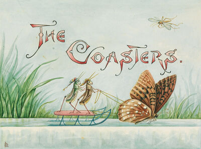 "Lillian C. Davids, '""Doings of the Grasshoppers. The Coasters."" Group of 3 illustrations to a chapter entitled ""The Coasters"" for an unpublished work by Davids called ""Doings of the Grasshoppers,""', circa 1880"