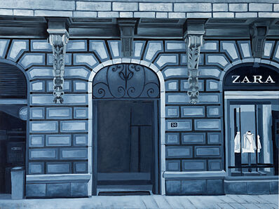 Cecilia Villanueva, 'Space 24, Mexico City Architecture, postmodern realism, perspective, blue and white showcase window, stone art nouveau, downtown cityscape, fashion clothing', 2019