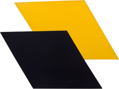 Clarissa Mitchell, '1980s Graphic Black and Yellow Abstract Painting', ca. 1980