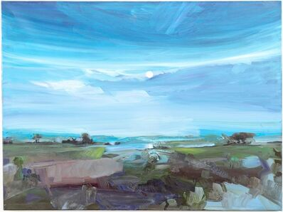 Simon Andrew, 'Moon Rise Across Lake - moonlit landscape with rich blues, soft greens and brown', 2015