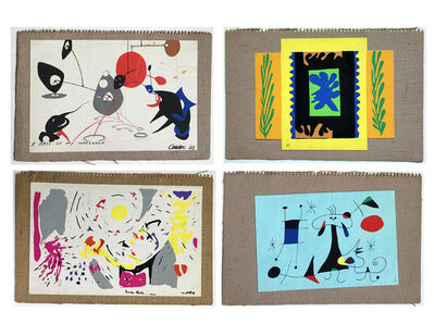 "Alexander Calder, '""Mural Scrolls"", WALLPAPER SAMPLE PORTFOLIO, 1949,  by Matisse, Calder, Miro, and Matta, 4- Silkscreens on Canvas/Burlap, with Original Folders, MUSEUM QUALITY, VERY RARE', 1949"