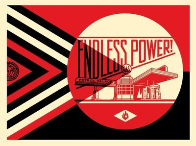 Shepard Fairey, 'Endless Power Petrol Place - Red', 2019