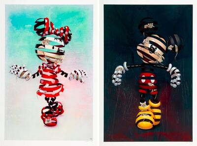 Super A, 'Encaged Mickey and Encaged Minnie (two works)', 2020