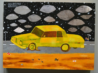 Esther Pearl Watson, 'Yellow Car with Foil Saucers', 2015
