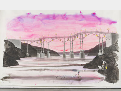 Charles Avery, 'Untitled (Boys fishing beneath bridge with pink sky)', 2021