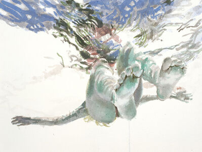 """Carol Bennett, '""""Lauren"""" watercolor painting of a woman floating in the water with a reflection', 2020"""