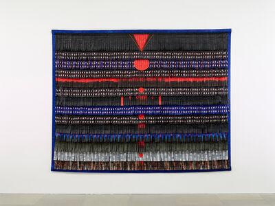 Abdoulaye Konaté, 'Noir-bleu aux triangles et cercles rouges', 2017