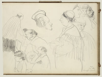 Edgar Degas, 'Sketches of Figures at a Funeral', 1877