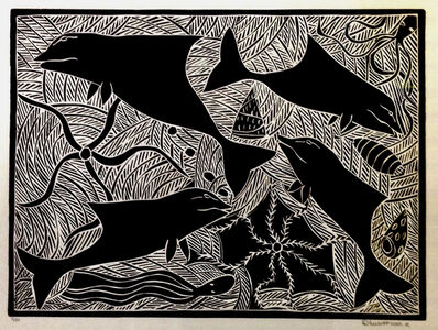 Dhuwarrwarr Marika, 'Mutjalanydjal - The Dolphin and Small Blue Starfish', 1997