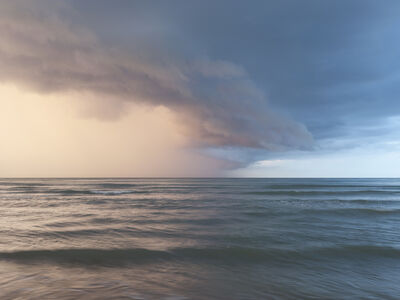 Donald Weber, 'Omaha Beach - October 4, 2013, 6:24pm. 17ºC, 88% RELH, Wind WSW 3 Knots. VIS: Poor, Overcast Clouds, Thunderstorms', 2013