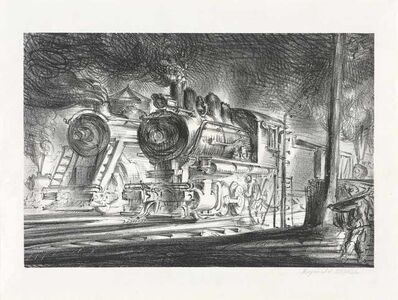 Reginald Marsh, 'SWITCH ENGINES, ERIE YARDS JERSEY CITY, STONE 3 (S. 30)', 1947
