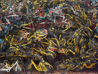 Liu Bolin, 'Little Yellow Bicycles' Grave', 2018