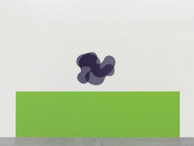 Gerwald Rockenschaub, 'Wall Painting (NCS S 0575-G20Y), 100 x 360 cm, Plexiglass-Object, 2-pcs, 71.5 x 85 x 0.6 cm (GS Grey 7C82), bolts, washer', 2015