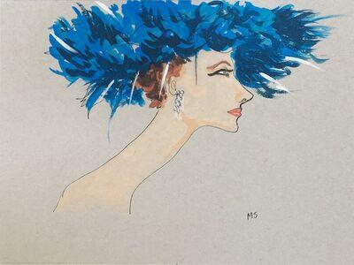 manuel santelices, 'Suzy Parker in a blue hat', 2018