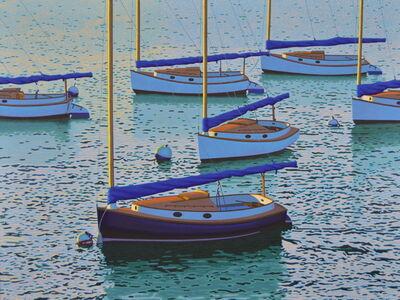 """Rob Brooks, '""""Cats"""" Catboats in Blue Ocean, Calm Quiet Seascape', 2010-2018"""