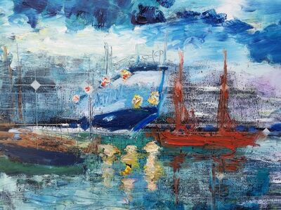 Norma de Saint Picman, 'Water paintings summer 2019 - plein air in situ paintings, The Port of Koper, from Marina', 2019