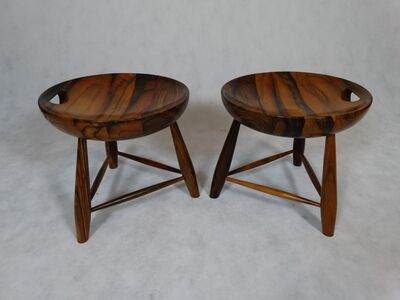 Sergio Rodrigues, 'Extremely rare pair of stools', ca. 1958