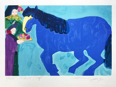 Walasse Ting 丁雄泉, 'Blue horse', 1991