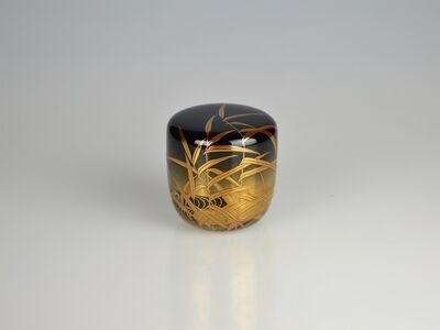 Kawabata Kinsa V, 'Gold Lacquer Tea Caddy with River Scene', Shōwa period
