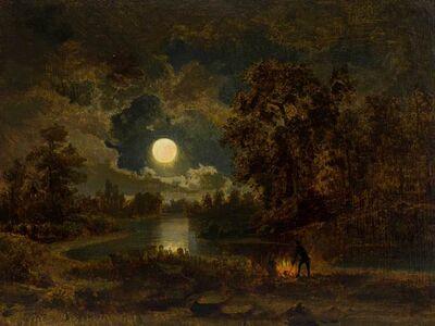 Albert Bierstadt, 'Men by a Campfire - Moonlight', 19th -20th Century
