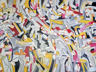 """Amit Kalla, 'Abstract Painting, Acrylic on canvas, Red, Yellow, Pink, White, Black """"In Stock""""', 2019"""