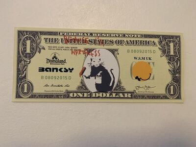 "Banksy, 'BANKSY DISMALAND US DOLLAR ""PAINTER RAT, BECAUSE I'M WORTHLESS"", DISMAL DOLLAR, COMPLETE WITH COA', 2015"