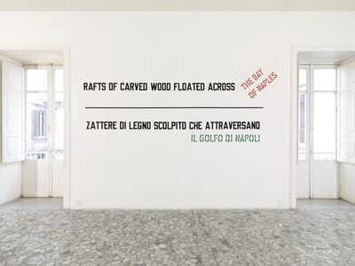 Lawrence Weiner, 'Rafts of carved wood floated across the bay of naples', 2009